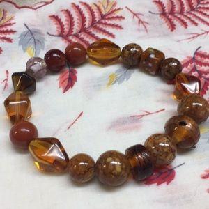 Brown glass beaded bracelet